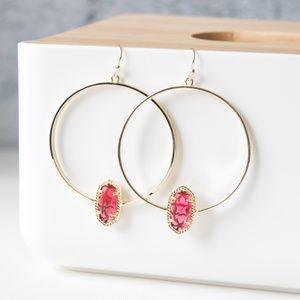 Kendra Scott Elora hoop Earrings Red Gold New